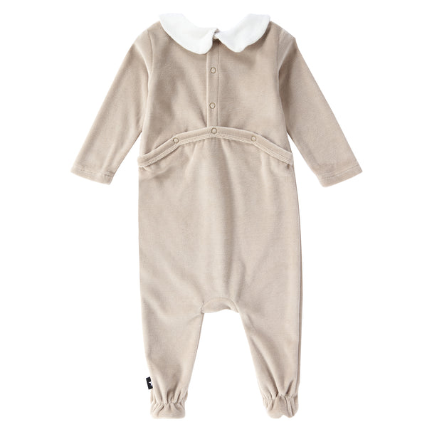 Baby Velour Button Down Onesie in Stone