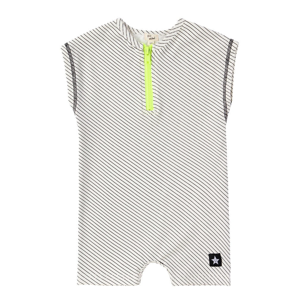 Black and White Neon Zipper Romper