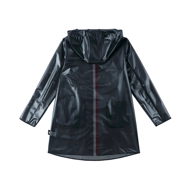 Black Raincoat with Red Zipper Detail