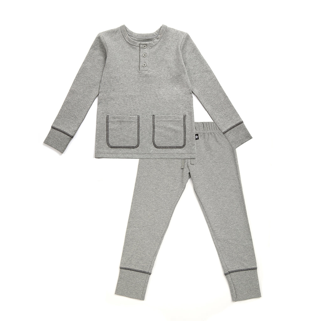 Contrast Stitch Pocket Detail Pajamas in Gray