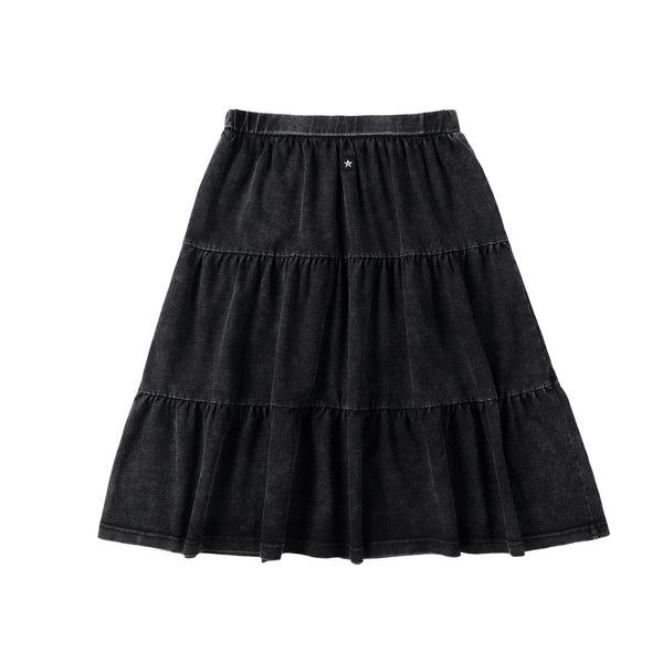 Teens Black Denim Tiered Skirt