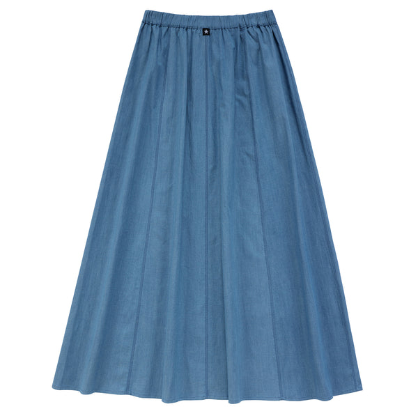 Teens Paneled Maxi Skirt in Light Blue Denim