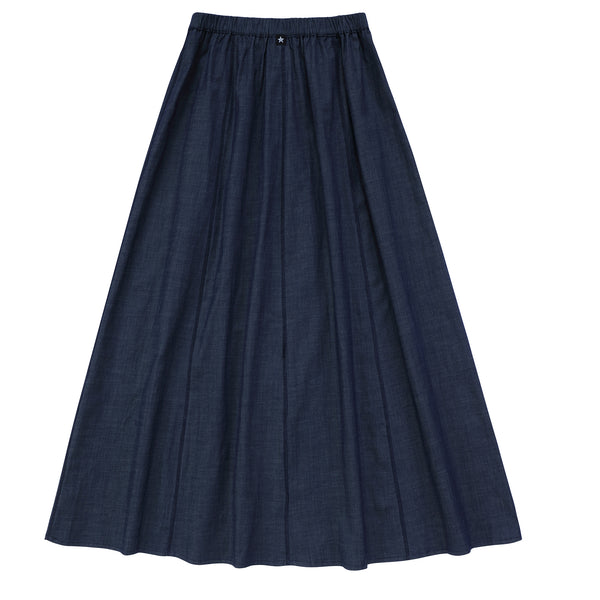 Teens Panaeled Maxi Skirt in Navy Denim