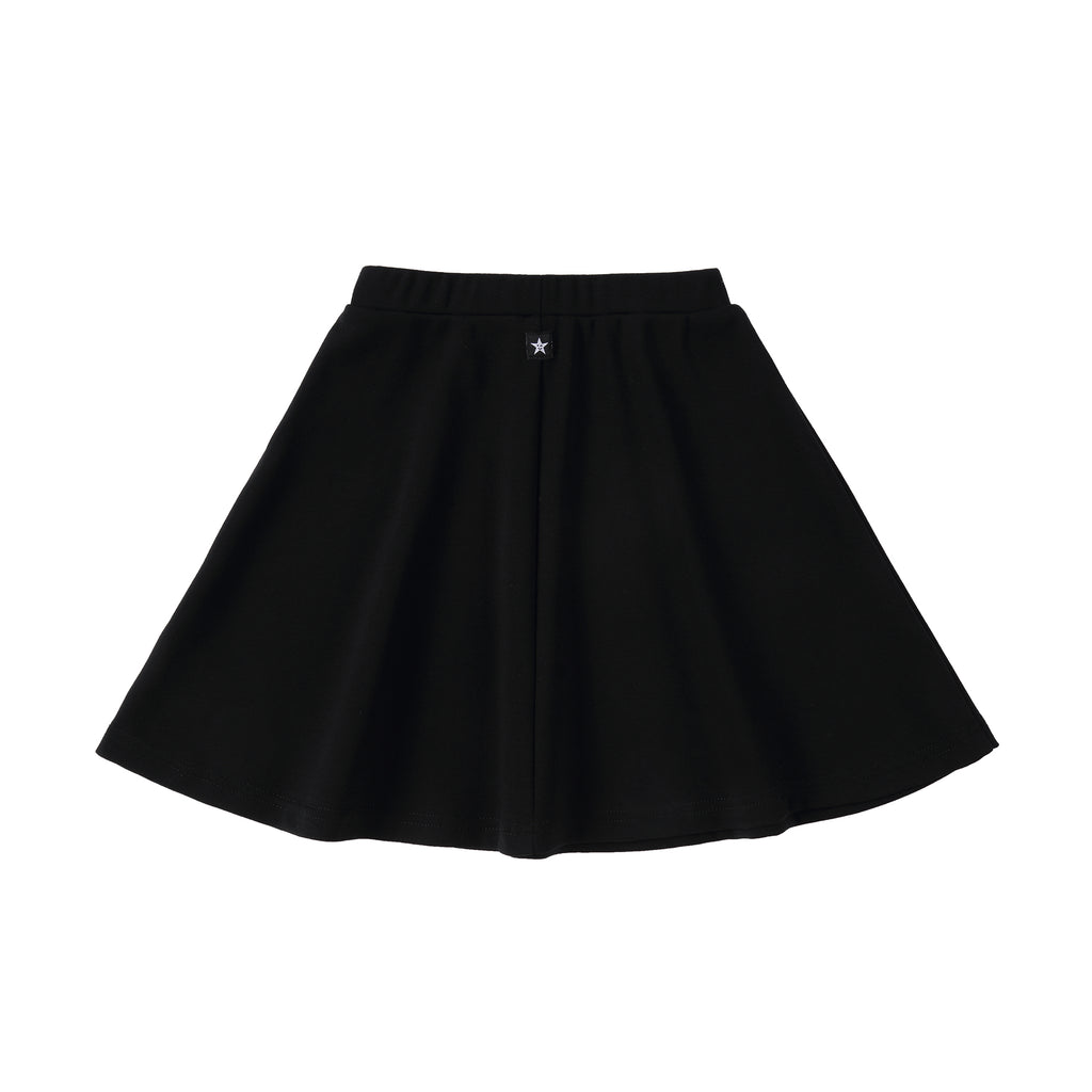 Girls Basic Black Cotton Skirt