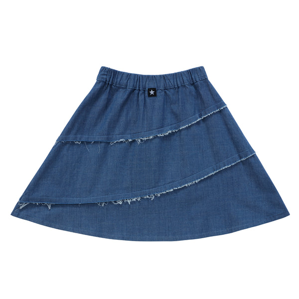 Girls Diagonal Outside Seam Skirt in Blue Denim