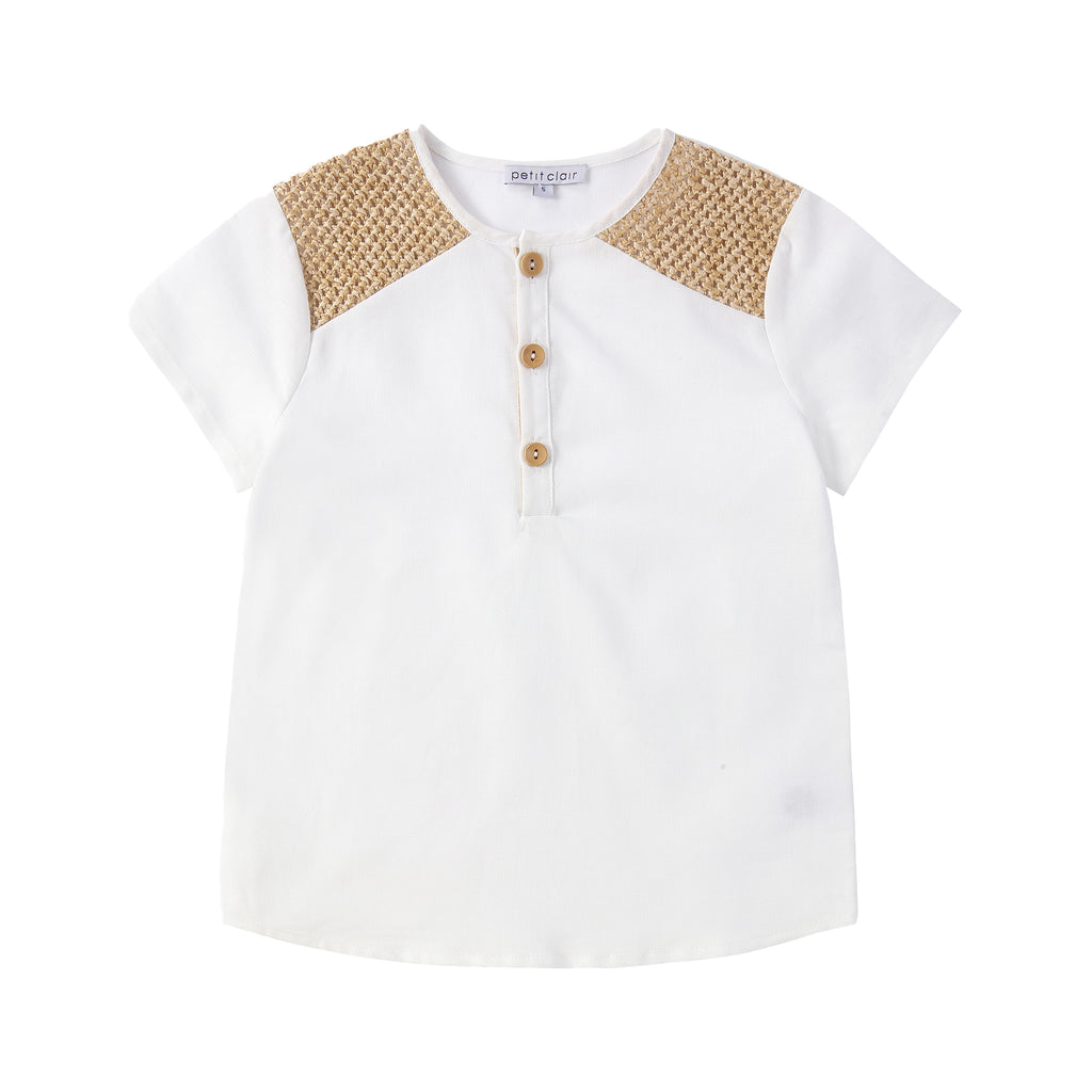 Boys Ivory Mandarin Shirt with Weave Textured Details & Wooden Buttons