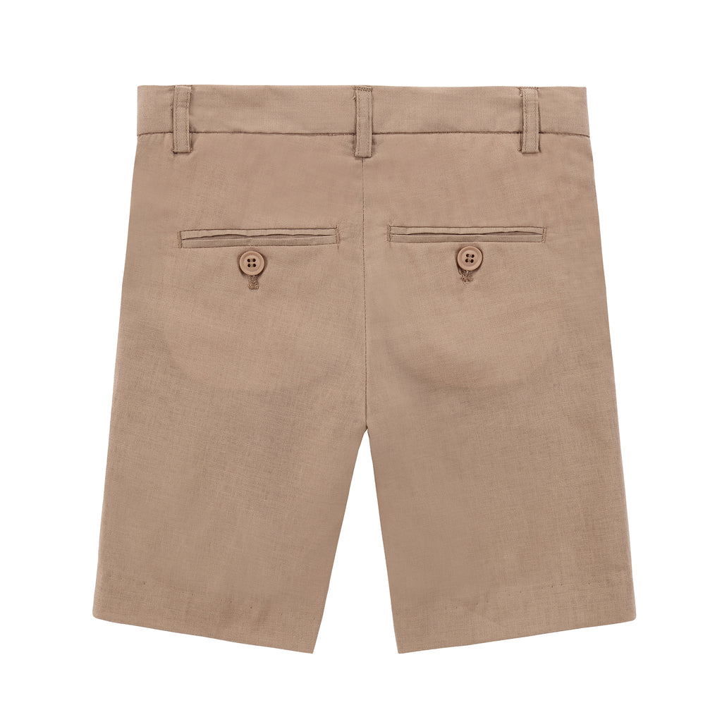 Boys Linen Shorts in Camel