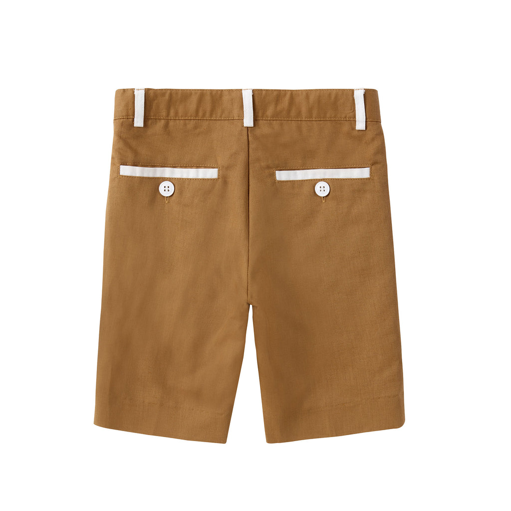 Camel with Ivory Linen Shorts