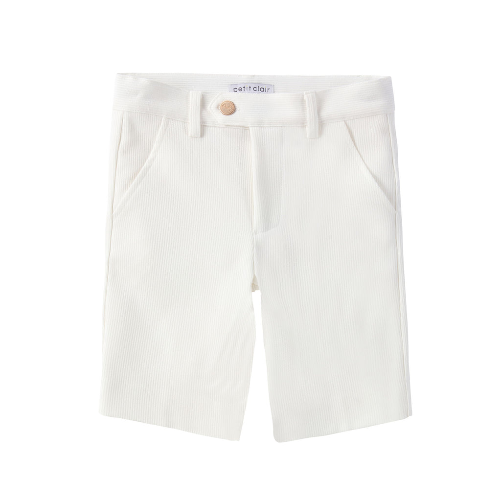 White Ribbed Textured Shorts