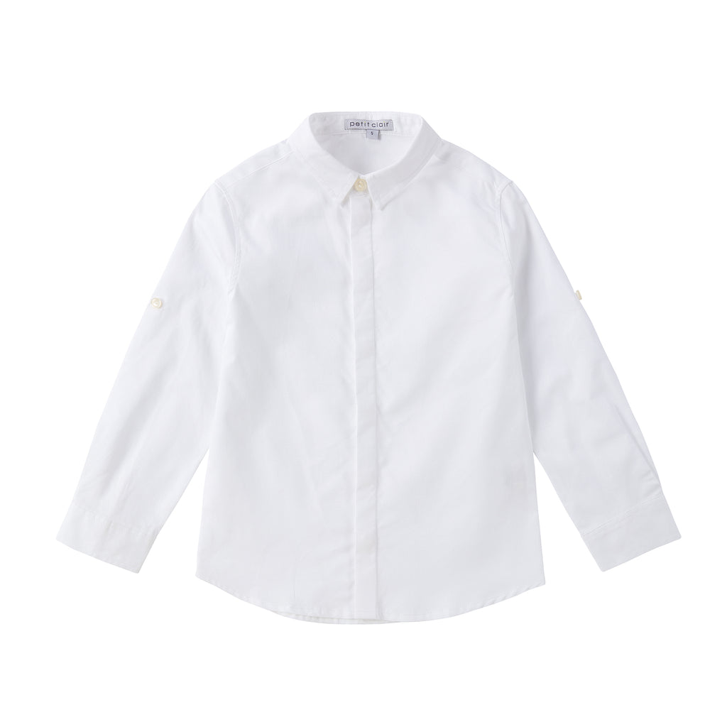 White Roll-up Sleeve Shirt with Hidden Placket