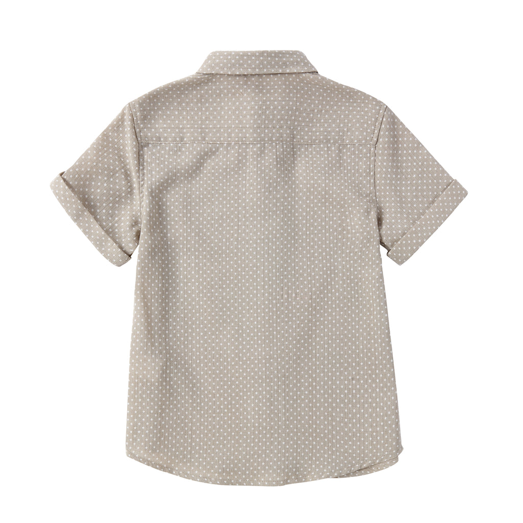 Tan with White Star Short Sleeve Linen Shirt
