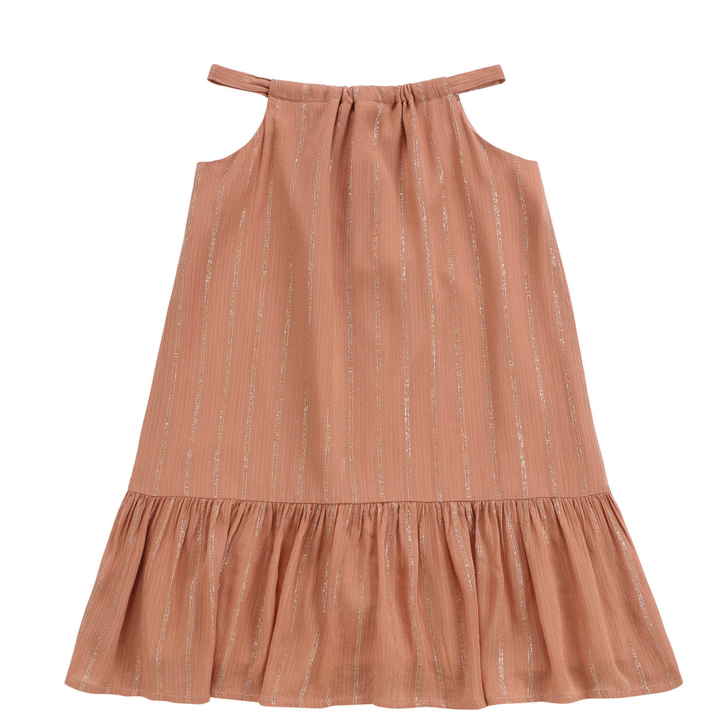 Girls Caramel Chiffon Jumper with Metallic Lurex