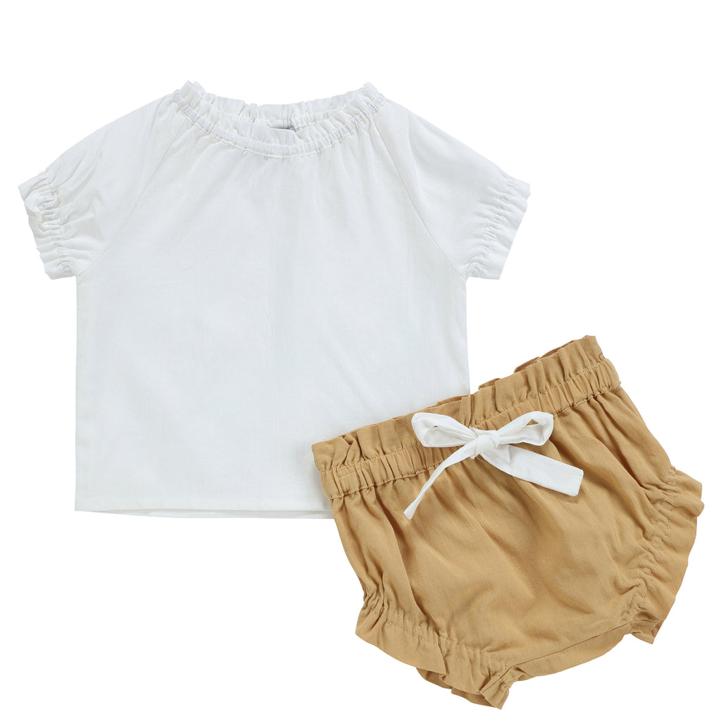 Baby Girls Gold Linen Set