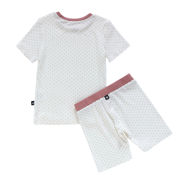 Short Sleeve Pink Swiss Dot Pajamas