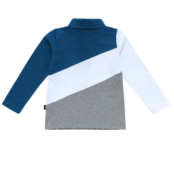 Boys Long Sleeve Blue and Grey Polo