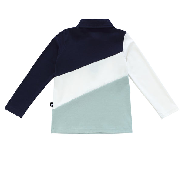 Boys Long Sleeve Navy and Sage Polo
