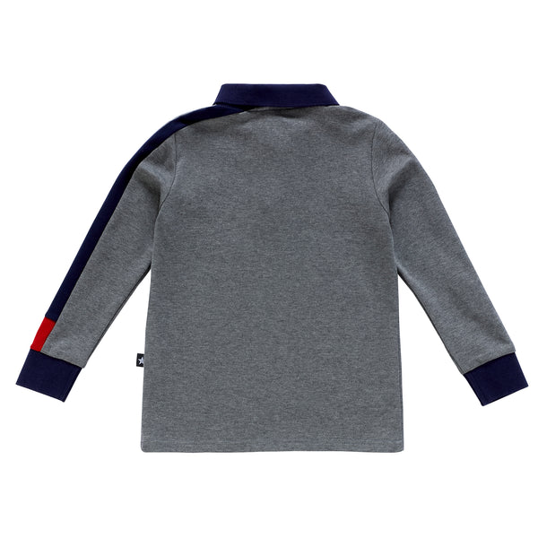 Boys Long Sleeve Grey Polo with Navy and Red Trim