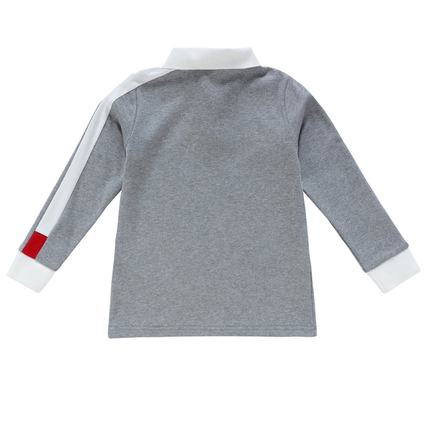Boys Long Sleeve Grey Polo with White and Red Trim