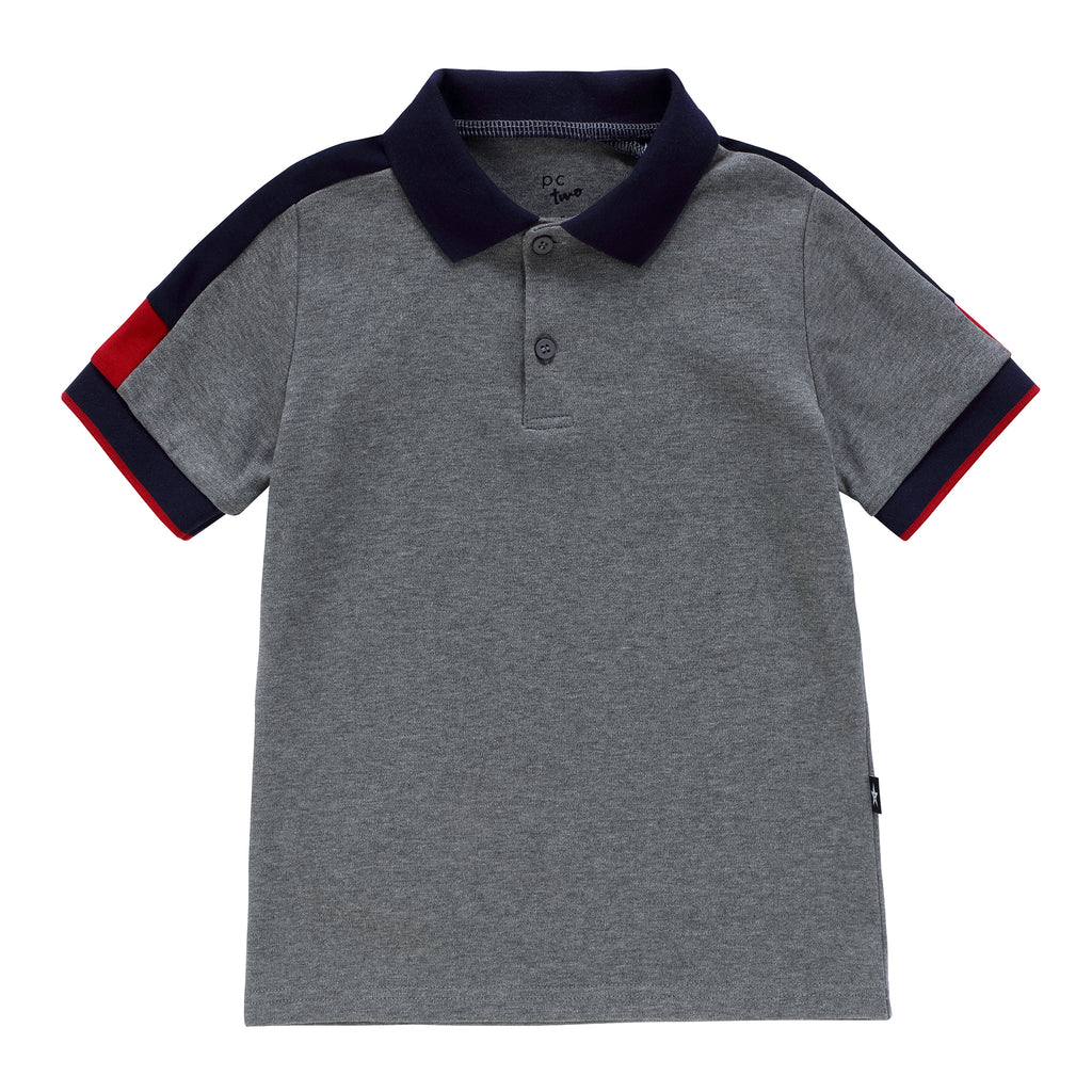 Boys Grey Polo with Navy and Red Trim