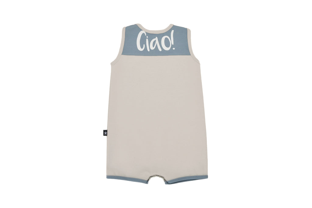 "Baby ""Ciao"" Romper in Tan"
