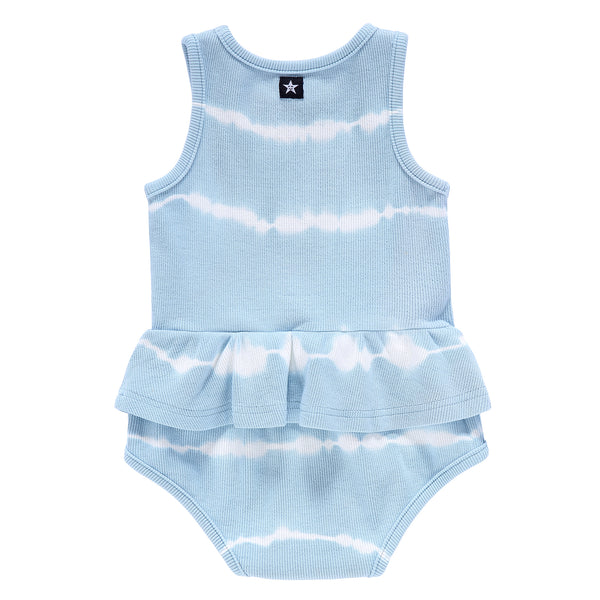 Baby Girls Blue Tie-Dye Ribbed Romper