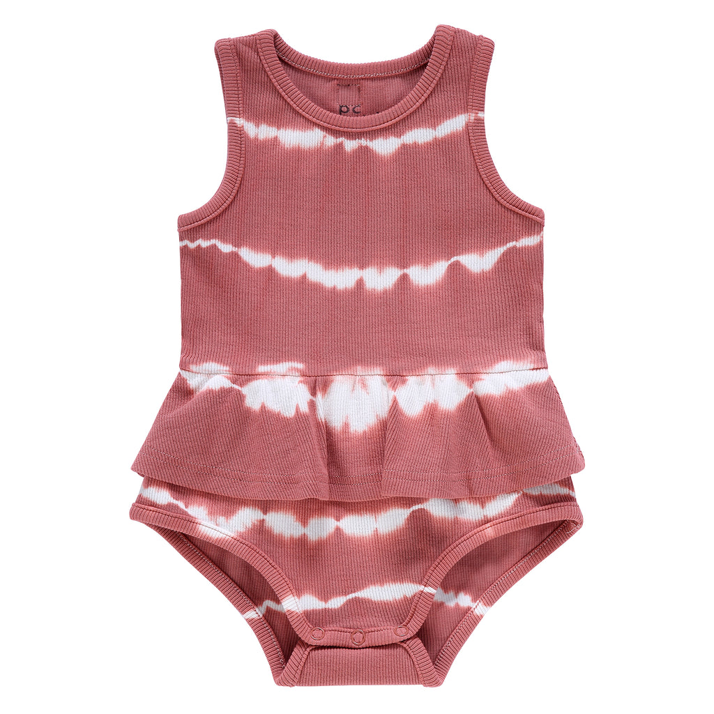 Baby Girls Rose Tie-Dye Ribbed Romper