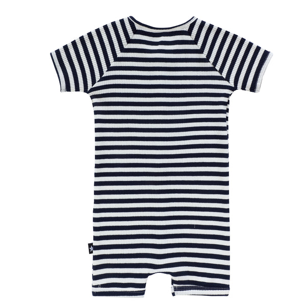 Baby Navy Ribbed Stripe Romper