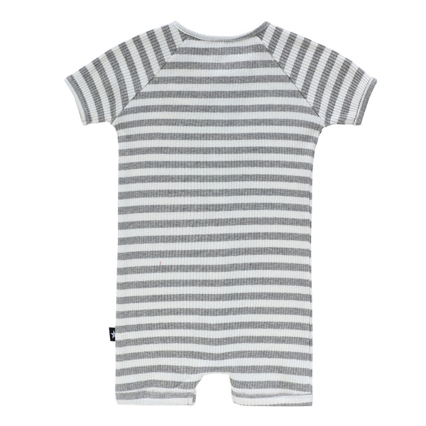 Baby Grey Ribbed Stripe Romper
