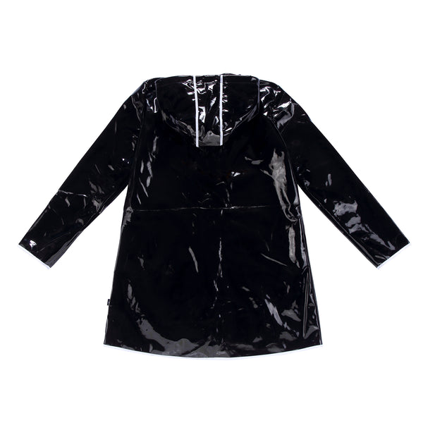 Teens Black Patent Raincoat