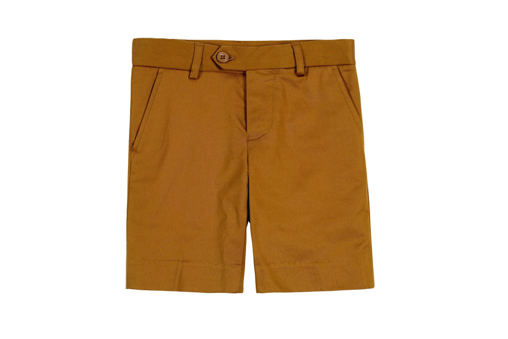 Boys Dress Shorts in Caramel
