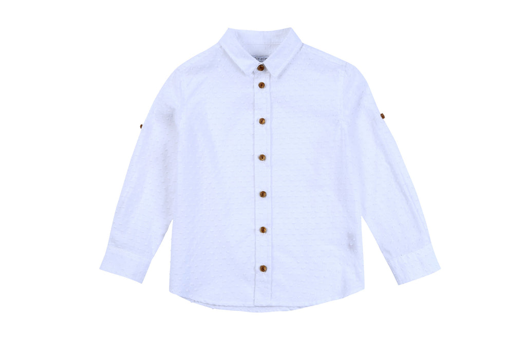 Boys White Swiss Dot Shirt