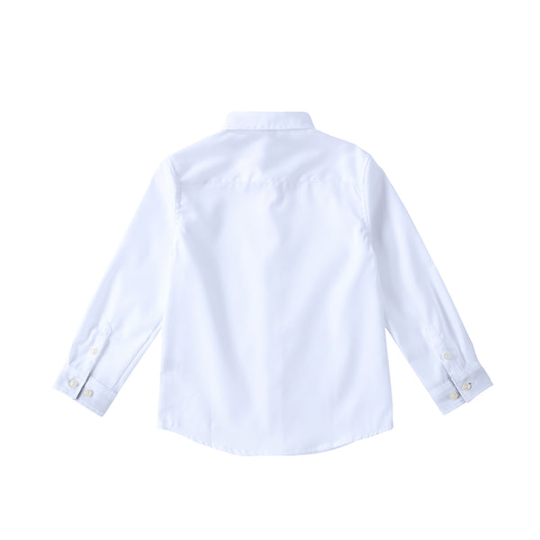 Boys White Shirt with Grey Contrast Collar