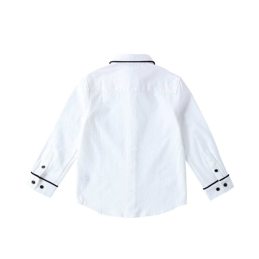 Boys White Shirt with Velvet Contrast