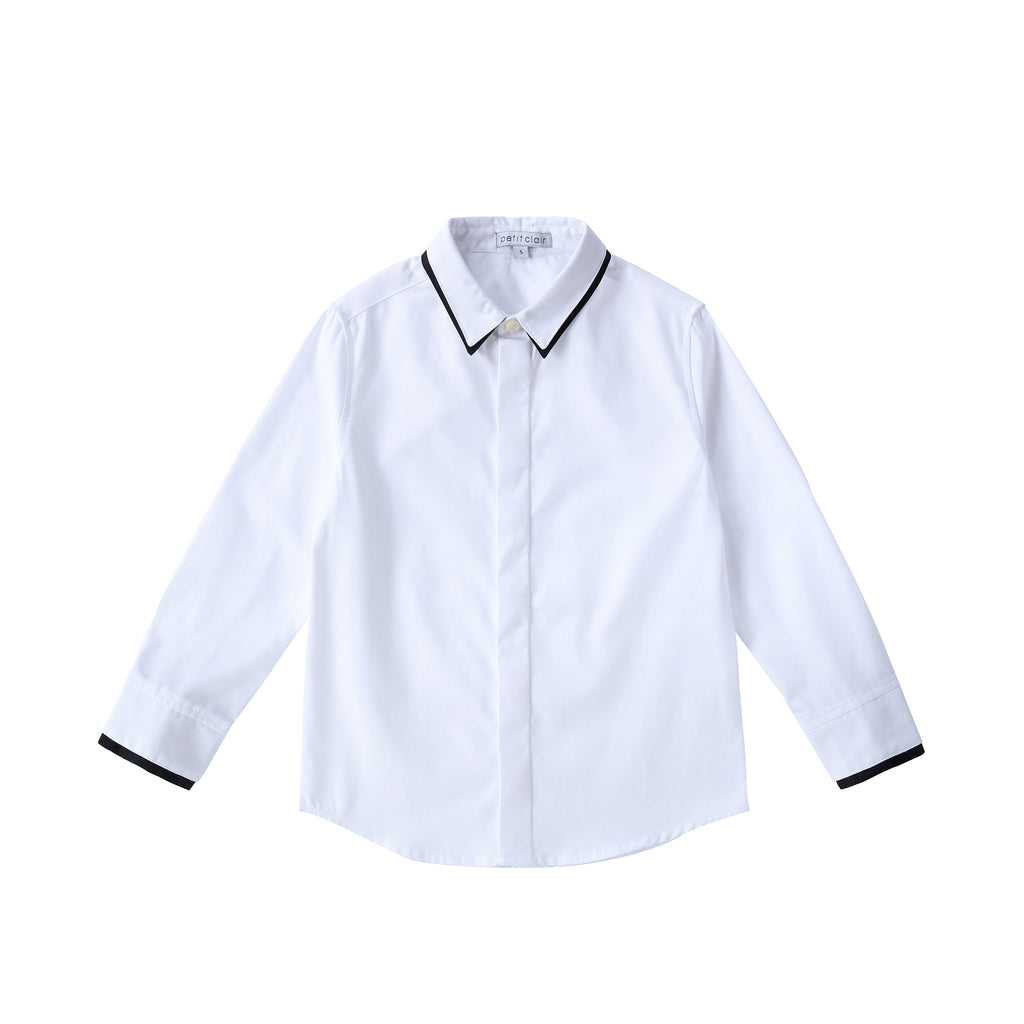 Boys Black Contrast Collar Shirt