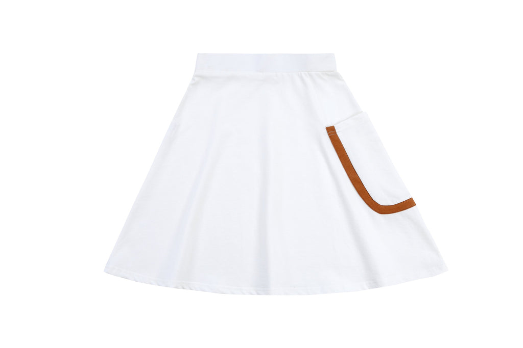 White Skirt with Hazelnut Contrast Pocket