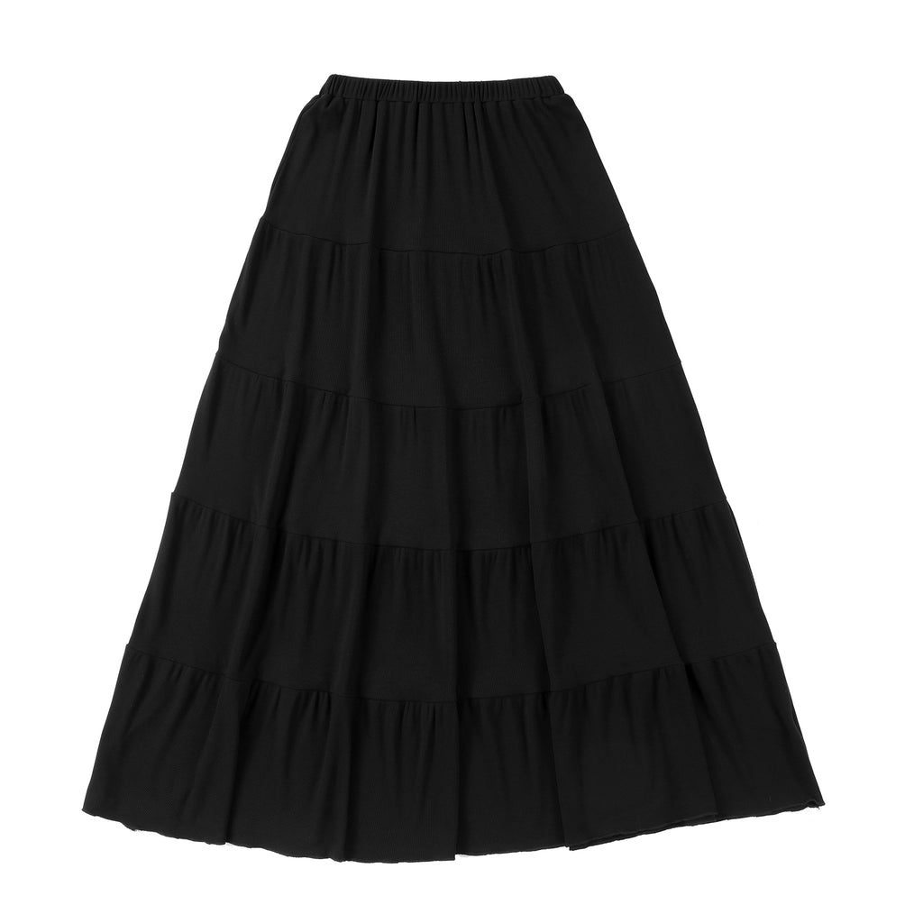 Black Ribbed Tiered Maxi Skirt