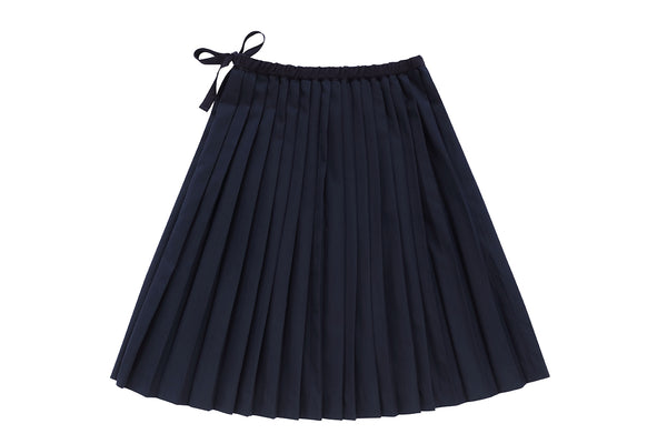 Navy Pleated Skirt
