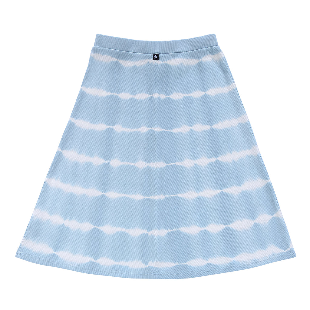 Teens Blue Tie-Dye Ribbed Skirt