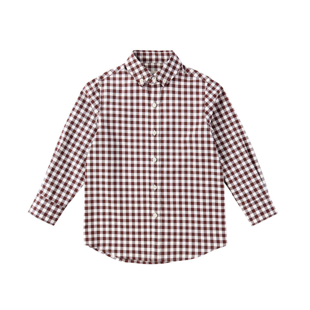 Boys Mocha Gingham Shirt