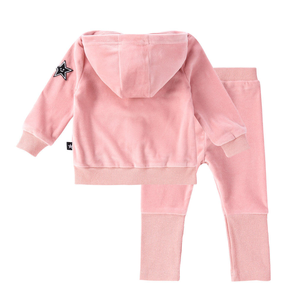 Baby Velour Zip up Set in Light Mauve