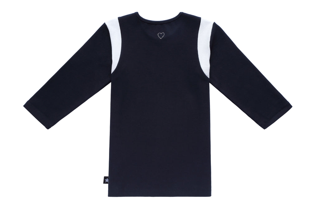 Teens' Navy with White Ribbed T-shirt
