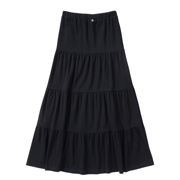 Teens Tiered Maxi Skirt in Black