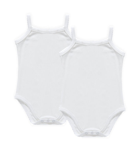 Baby 2pc White Ribbed Strap Bodysuit