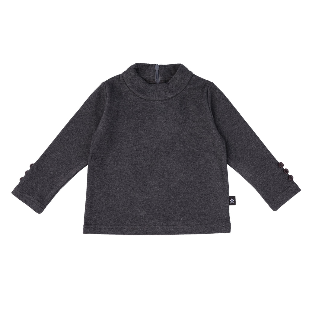 Baby moc neck shirt in heather grey