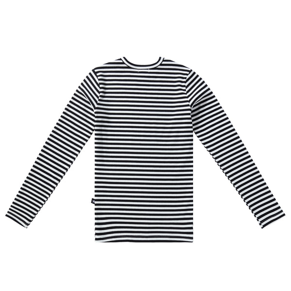 Teens Ribbed Striped Tshirt in Black