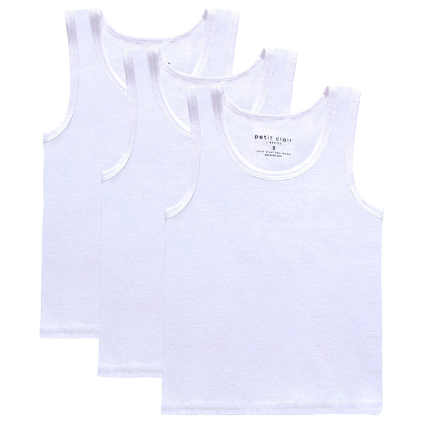 Boys Basic White 3pc Tank Set