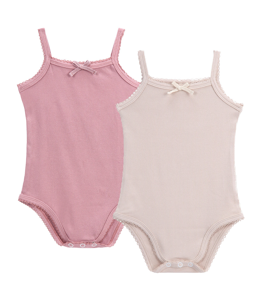 Baby 2pc Colored Ribbed Strap Bodysuit with Bow