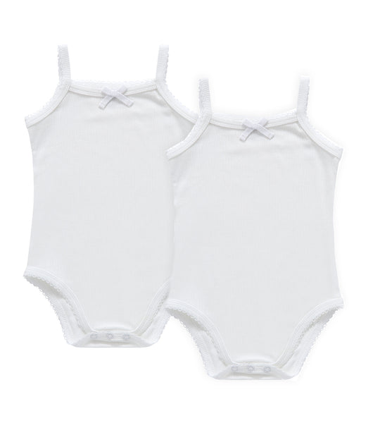 Baby 2pc White Ribbed Strap Bodysuit with Bow