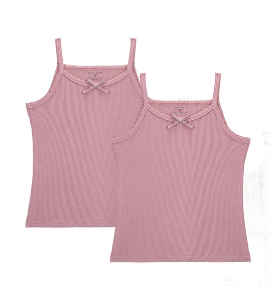 Girls 2pc Ribbed Tanks with Bow Muave