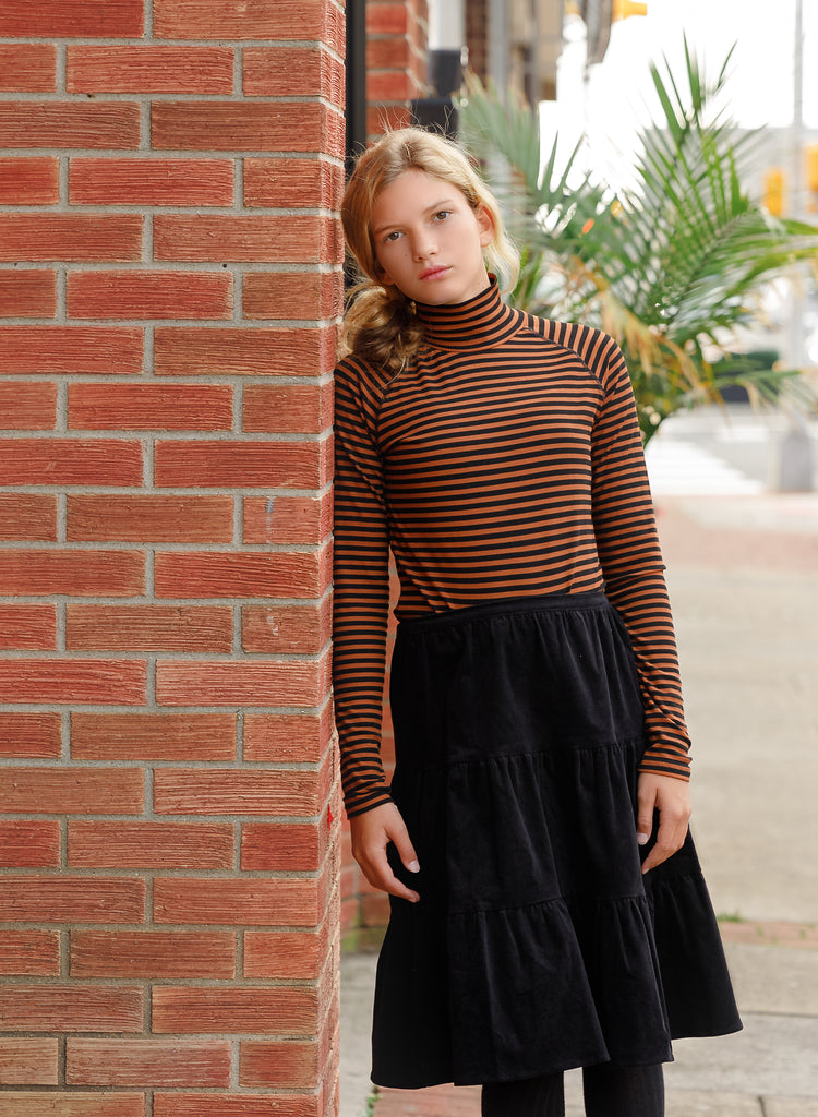 Black Corduroy Tiered Skirt